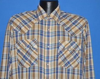 80s Levis Blue Yellow Plaid Western Pearl Snap Shirt Large