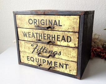 Vintage hardware cabinet Weatherhead Original Fittings Equipment industrial metal bin case drawer unit parts compartment supply storage