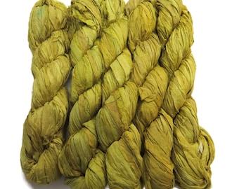 New! Recycled Sari Silk Ribbon, Citron