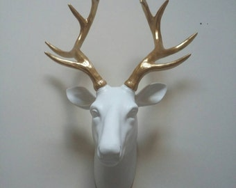 Hand painted stag head wall mount faux taxidermy gold antlers. Lovely gift idea, christmas, birthday, home decor. His and hers gift present