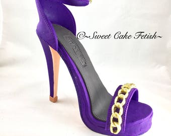 Gumpaste High Heel Shoe/ Cake Topper/Purple and gold shoe
