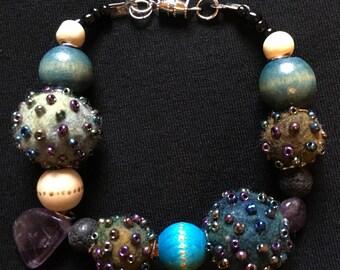 Mix beaded felted stone bracelet