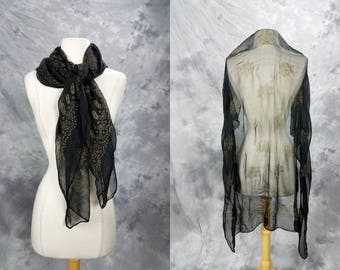 Sheer black scarf w metallic gold floral print