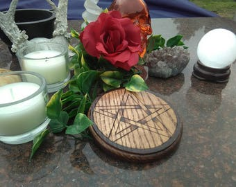 Magick Pentacle - Altar Pentacle - Altar Tile - Ash Wood - High Quality