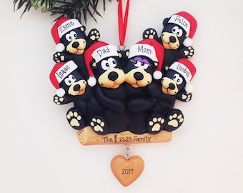 FREE SHIPPING 6 Black Bears Family Ornament / Personalized Christmas Ornament / Family of Six Bears / Christmas Ornament