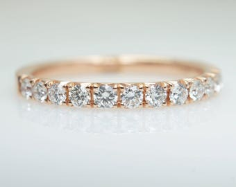 French Pave .46CTW Diamond Wedding Band in 14k Rose Gold Diamond Band Rose Gold Wedding Band Anniversary Ring