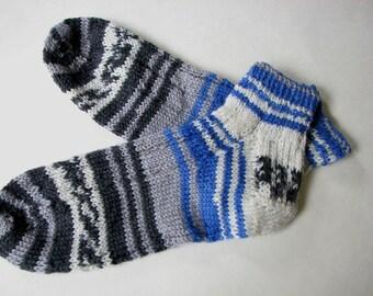 Hand Knit Socks, Blue and Grey Pattern Socks, Striped Socks,  Short ankle length  Washable knits