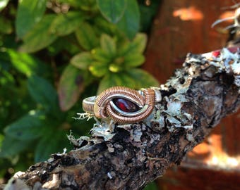 Size 8 • Black Opal • Sterling Silver with Rose Gold Accents Wire Wrapped Ring