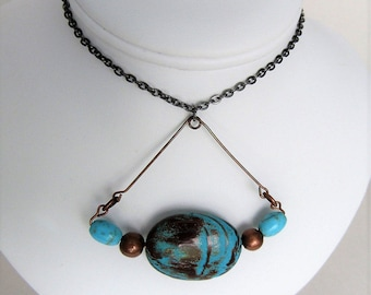 NEW Mixed Metals and Gemstone Necklace- Cappuccino Jasper and Magnesite Mixed Metals Pendant Necklace