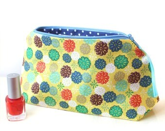 Makeup Bag, Colourful Cosmetic Pouch, 8 inch Citrus Yellow Zippered Bag with Blue Polka Dot lining, Mothers Day Cosmetics Gift