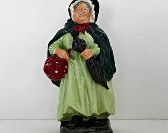 Sairey Gamp Royal Doulton Collecteble Figurine in Green