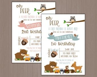 Woodland Animals Invitaiton, Birthday Party Invitation, Pink, Blue, Fox, Deer, Bear, Raccoon, Owl, Bear, 1st, 2nd, 3rd, 4th, First, Printed