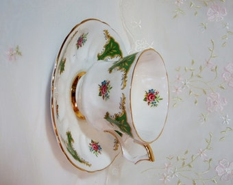 Vintage 1950s Royal Windsor Tea Cup and Saucer, Fine Bone China, England, Green, Burgundy Roses, with Gold Accents
