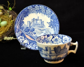 Blue and White English Cup and Saucer, English Scenery, Enoc Woods and Sons Antique Vintage, Great Gift Idea, #1971