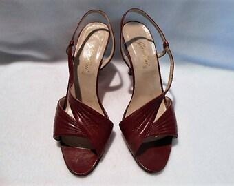 Garolini Burgundy Stitched Leather Slingback Sandals Shoes Pumps, Size 7 1/2M, c. 1970
