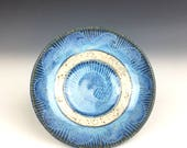 Nautical blue ceramic ring bowl, nautical pottery, sgraffito pottery, jewelry bowl, trinket dish, nautical decor