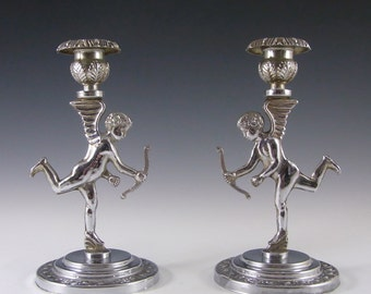 Pair of 1930's Art Deco Chrome Cupid/Cherub Candlesticks