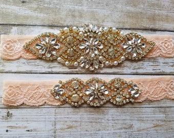 Sale -Wedding Garter and Toss Garter-Crystal Rhinestone with Gold Details -  BLUSH Garter Set - Style G20908GBLU