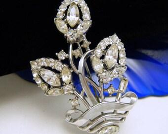 Crown Trifari Pat Pend Vintage Brooch Clear Rhinestones 1950s Fabulous