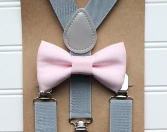 Bowtie and Suspenders Set/Baby Pink Bowtie/Gray Suspenders/Baby and Toddler Bowties/Birthday and Wedding Sets