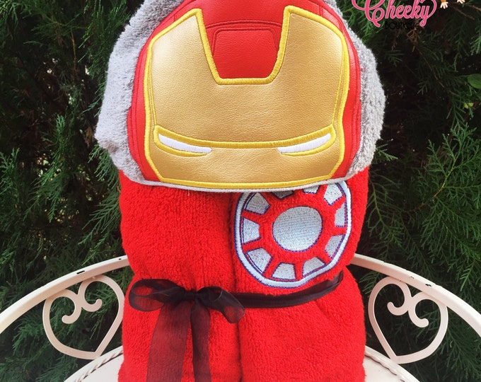 Iron Hero Inspired Hooded Towel - Iron Man - Tony Stark - Disney Birthday - Marvel Birthday - Superhero Birthday