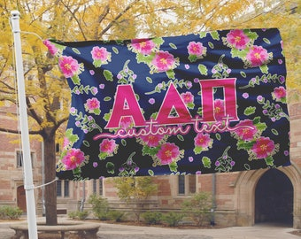 Alpha Delta Pi flag, Navy blue with bright hot pink floral, 3 x 5 feet Polyester mesh, Customizable Sorority gift, ADPi Room decor