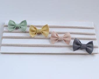 Mini bow headbands, baby bows and headbands, baby girl headband, small bow headband, newborn headband, baby girl headband, soft headband