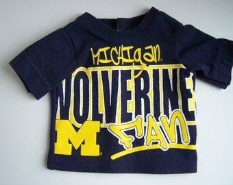 Upcycled Michigan Wolverines Fan T Shirt - fits 18 inch boy and girl dolls