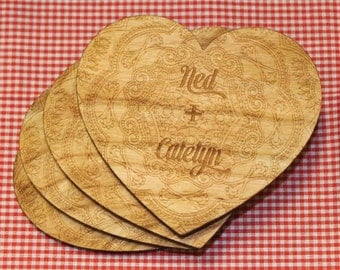 Heart Coasters - Lace Design Set of 4