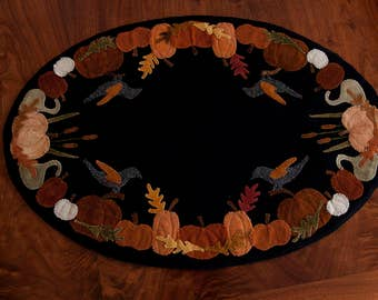 Wool Applique Mat Pumpkins Fall Penny Rug