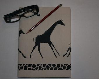 Natural Canvas Journal with Galloping Giraffe Print