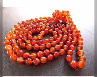 Carnelian Necklace Long Carnelian Bead Necklace Knotted 60 inches long Sterling Silver Carnelian Earrings Natural Stone