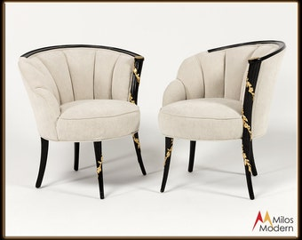 60s Glamorous Hollywood Regency Pair Sculpted Black Laquer White Slipper Chairs