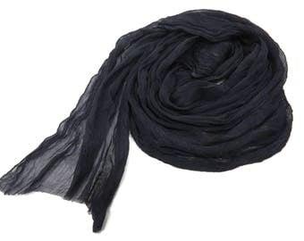 Hand dyed Silk crinkle chiffon fabric scarf for nuno felting color: Black