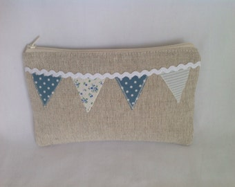 Natural Linen Bunting Appliqué Zipped Purse, Pouch, Cosmetic Bag, Accessory Pouch
