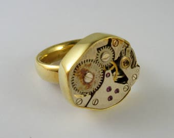One of a Kind Watch Movements RIng! Yellow Brass and Watch parts - Size 6, Free shipping in US!