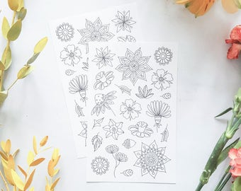 adult colouring stickers, planner stickers, cool stickers, flower stickers, flower colouring page, mandala stickers, white stickers