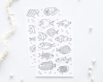 coloring stickers - fish stickers - planner stickers - adult coloring - fish coloring page stickers - fish drawing stickers - fishing gifts