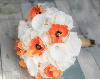 Silk Wedding Bouquet with Coral Orange Poppy, Calla Lilies and Roses- Natural Touch Silk Bridal Flowers