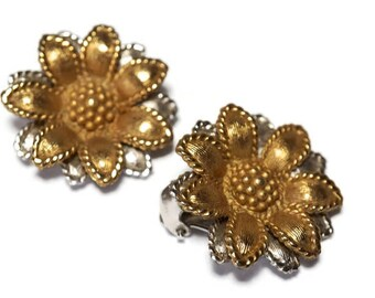 Vintage NAPIER Earrings,Flower Earrings in Silver and Gold Tone,Patent Pending Double Omega Clip Backs,Clip Ons for Non Pierced Ears