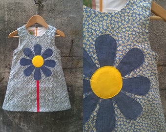 Daisy Dress blue and yellow