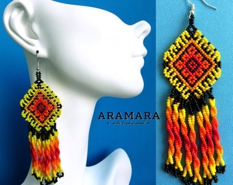 Huichol Earrings, Mexican Jewelry, Mexican folk art, Boho earrings, Mexican earrings, Native american earrings, Native Jewelry, AO-0149