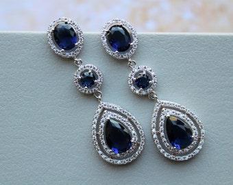 Sapphire Earrings, Blue Sapphire Bridal Earrings Art Deco Earrings Crystal  Earrings Wedding Earrings Teardrop Earrings Bridal Earrings