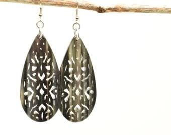 Boho earrings, Drop earrings, Black earrings, Silver tone earrings, Long earrings, Dangling earrings, Gift for her, Filigree earrings