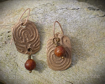 Bronze Labyrinth Amulet Earrings