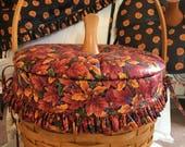Longaberger Large Round  Pumpkin Basket Two Covered  Wood Lids Autumn Halloween Liner