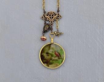 "Optical Lens ""Bird Nest"" Necklace, Pendant"