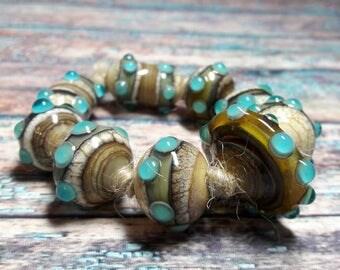 Lampwork glass beads handmade Beads supplies jewelry Beads for jewelry making Set beads Beads SRA Murano beads Beads Ivory, turquoise.