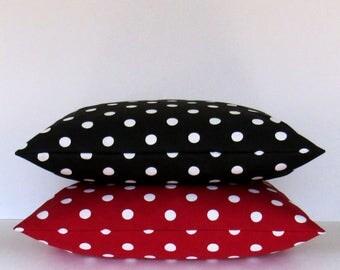Black Red Polka Dot Pillow Cover Decorative Throw Toss Accent 16x16 18x18 20x20 22x22 12x16 12x18 12x20 14x22 Zipper