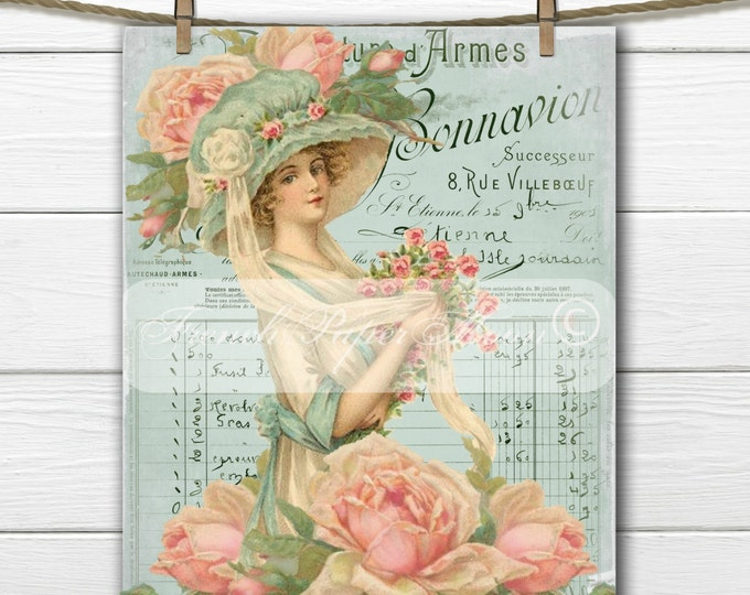 Romantic Victorian Lady digital, Shabby Chic Roses, French Typography, French Pillow Graphic Transfer Image Printable